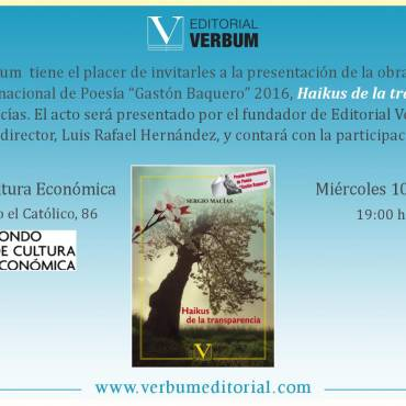 Presentación de «Haikus de la transparencia», premio Gastón Baquero 2016