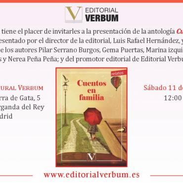 """Presentación de """"Cuentos en Familia"""" en el Espacio Cultural Verbum"""