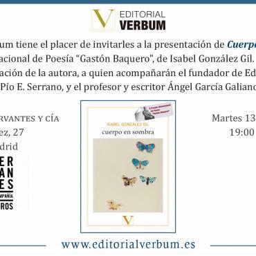Presentación de «Cuerpo en sombra», de Isabel González Gil