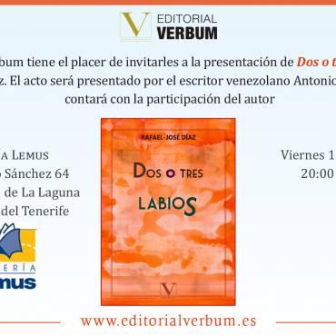 Presentación de «Dos o tres labios», de Rafael-José Díaz