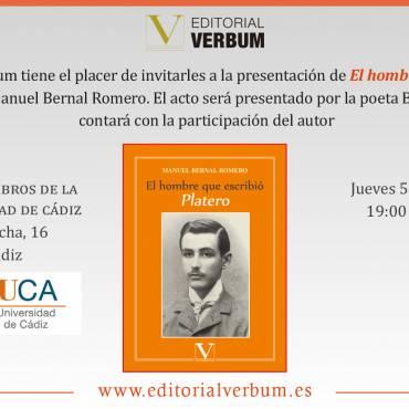 Presentación de «El hombre que escribió Platero», de Manuel Bernal Romero