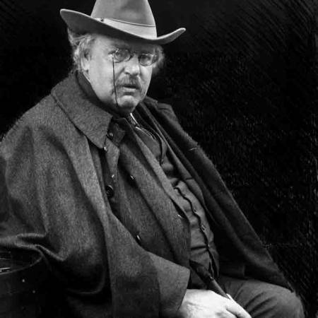The writer G.K. Chesterton (1874-1936), whilst on holiday in Bruges.  He is the best known as the author of the popular detective stories featuring the priest Father Brown, such as The Innocence of Father Brown (1911).